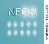 realistic neon alphabet shining ... | Shutterstock .eps vector #552798841