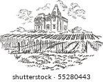 vintage   vineyard and castle ... | Shutterstock . vector #55280443