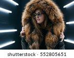 hipster teen girl in sunglasses ... | Shutterstock . vector #552805651