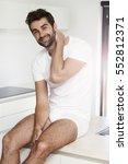 underwear wearing dude smiling...   Shutterstock . vector #552812371