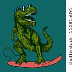 happy dinosaur surfer wearing... | Shutterstock .eps vector #552815095