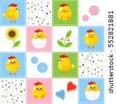 patchwork with chickens. baby... | Shutterstock .eps vector #552821881