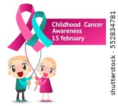 the kids holds a ribbon... | Shutterstock .eps vector #552834781