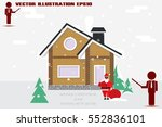 detached house in the winter... | Shutterstock .eps vector #552836101