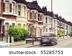 Terraced Houses And Blured ...