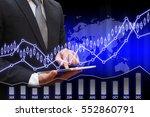 business man touching modern... | Shutterstock . vector #552860791