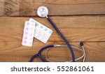 medical stethoscope and tablets ... | Shutterstock . vector #552861061