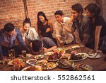 group of friends taking... | Shutterstock . vector #552862561