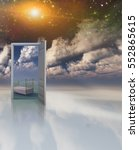 doorway in serene space opens... | Shutterstock . vector #552865615