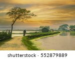 village in Bangladesh during sunset