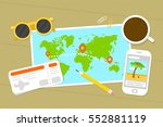 planning tourist trip. map ... | Shutterstock .eps vector #552881119