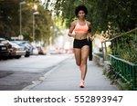 healthy sportswoman running on...   Shutterstock . vector #552893947