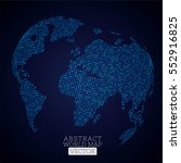 pixel dot world map made from... | Shutterstock .eps vector #552916825