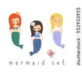 cute mermaids girls set on...