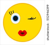 kiss emoticon with wink eye in... | Shutterstock .eps vector #552946399