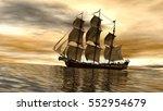 sailing ship in the vast ocean... | Shutterstock . vector #552954679