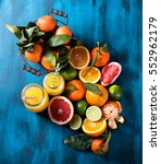 citrus fruits and juice  lime ... | Shutterstock . vector #552962179