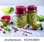 green and red  smoothie ... | Shutterstock . vector #552963805