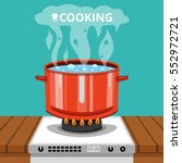 boiling water in pan. cooking... | Shutterstock .eps vector #552972721