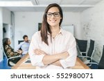young businesswoman looking the ... | Shutterstock . vector #552980071