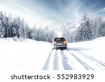 Winter Time And Car In Snow