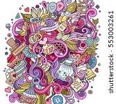 cartoon cute doodles hand drawn ... | Shutterstock .eps vector #553003261