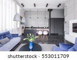 bright loft interior with... | Shutterstock . vector #553011709