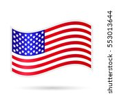 waving american flag on a white ... | Shutterstock . vector #553013644