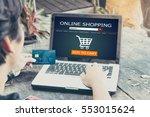 online shopping concept.man... | Shutterstock . vector #553015624