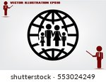family and world icon vector... | Shutterstock .eps vector #553024249