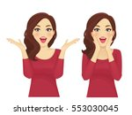 Surprised beautiful woman smiling with open mouth isolated | Shutterstock vector #553030045