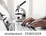scientist or student using ... | Shutterstock . vector #553031029
