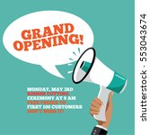 grand opening megaphone... | Shutterstock . vector #553043674