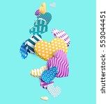 multicolored 3d hearts.... | Shutterstock .eps vector #553044451