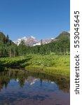 maroon bells reflection | Shutterstock . vector #553045645