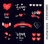 set of love stickers  emblems ... | Shutterstock .eps vector #553045885