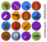 military and army set icons in... | Shutterstock .eps vector #553046104