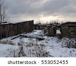 Abandoned Wooden Barns. Winter...