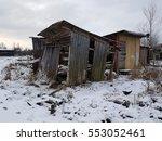 Abandoned Wooden Barns. Winter...