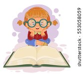 small girl reading a book | Shutterstock .eps vector #553058059