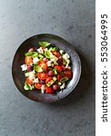 greek salad with cucumeber ... | Shutterstock . vector #553064995