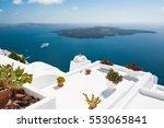 white architecture on santorini ... | Shutterstock . vector #553065841