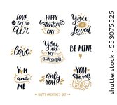 Happy valentines day, hand drawn text. Typography font on white background. Vector photo overlays, Black and gold | Shutterstock vector #553075525