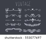 set of hand drawn text dividers.... | Shutterstock .eps vector #553077697