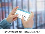 woman use mobile phone to buy... | Shutterstock . vector #553082764