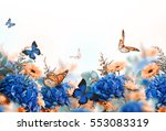 Stock photo amazing background with hydrangeas and daisies yellow and blue flowers on a white blank floral 553083319
