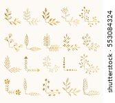 set of golden floral corners....   Shutterstock .eps vector #553084324