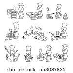 funny cooks big set. doodle... | Shutterstock .eps vector #553089835
