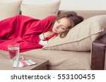 sick woman covered with a... | Shutterstock . vector #553100455