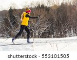 a young woman cross country... | Shutterstock . vector #553101505